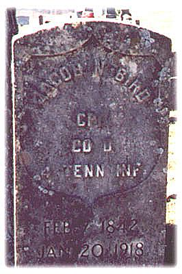 Jacob Noe Bird's Civil War Tombstone Picture