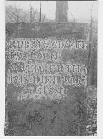 Rubin McDaniel's Tombstone Picture
